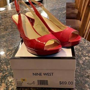 Nine West Size 7M Red Worn Once